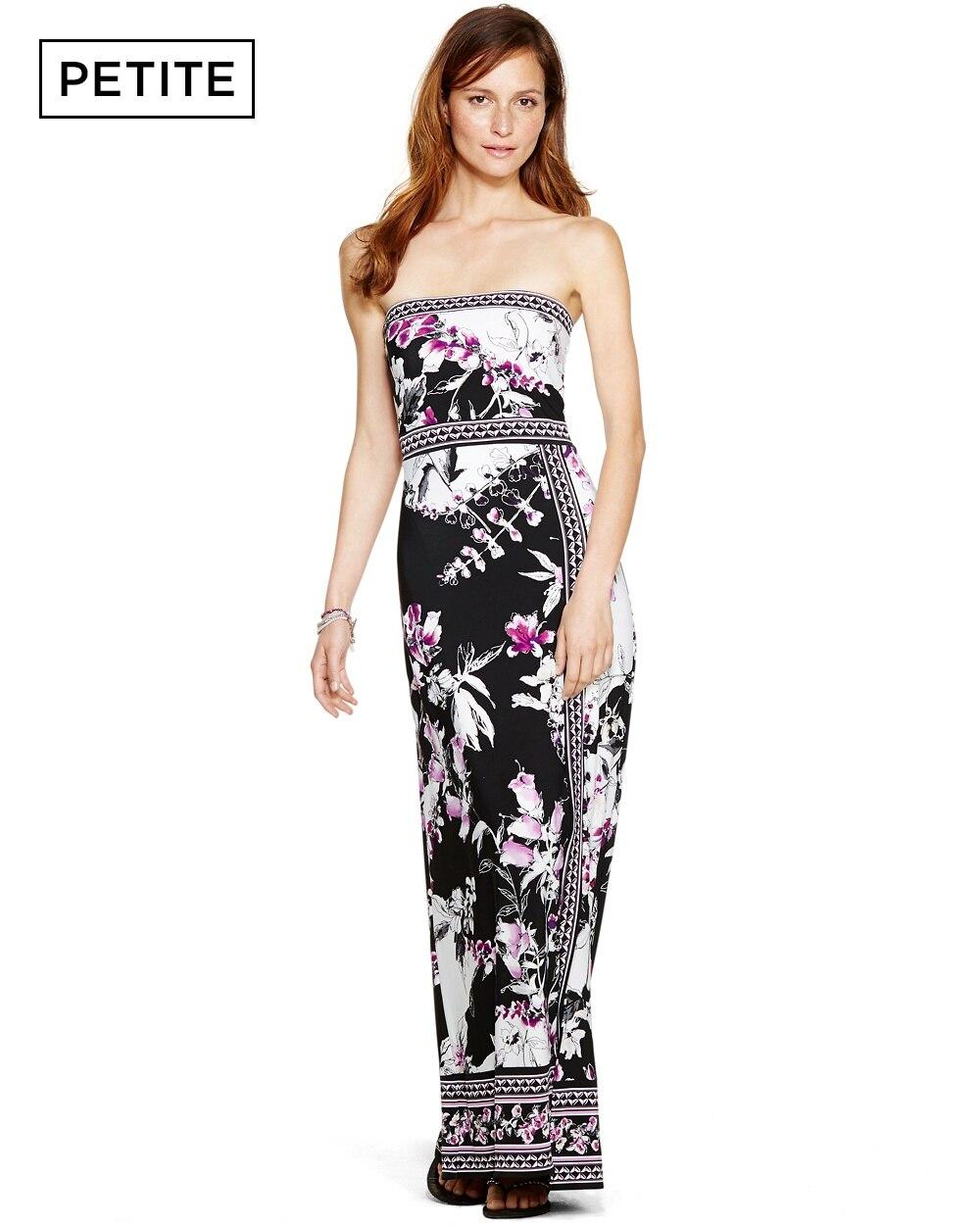 Petite Strapless Floral Print Maxi Dress White House Black Market