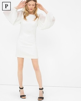 Petite Chiffon Sleeve White Shift Dress