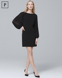 Petite Chiffon Sleeve Black Shift Dress