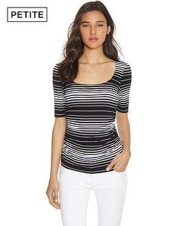 Petite Elbow Sleeve Ruched Stripe Top