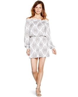 Long Sleeve At-the-Shoulder Blouson Dress