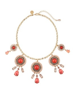 Coral Cabochon Statement Necklace