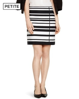 Petite A-line Black and White Stripe Skirt