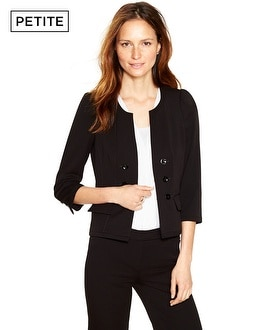 Petite 3/4 Sleeve Black Seasonless Peplum Jacket