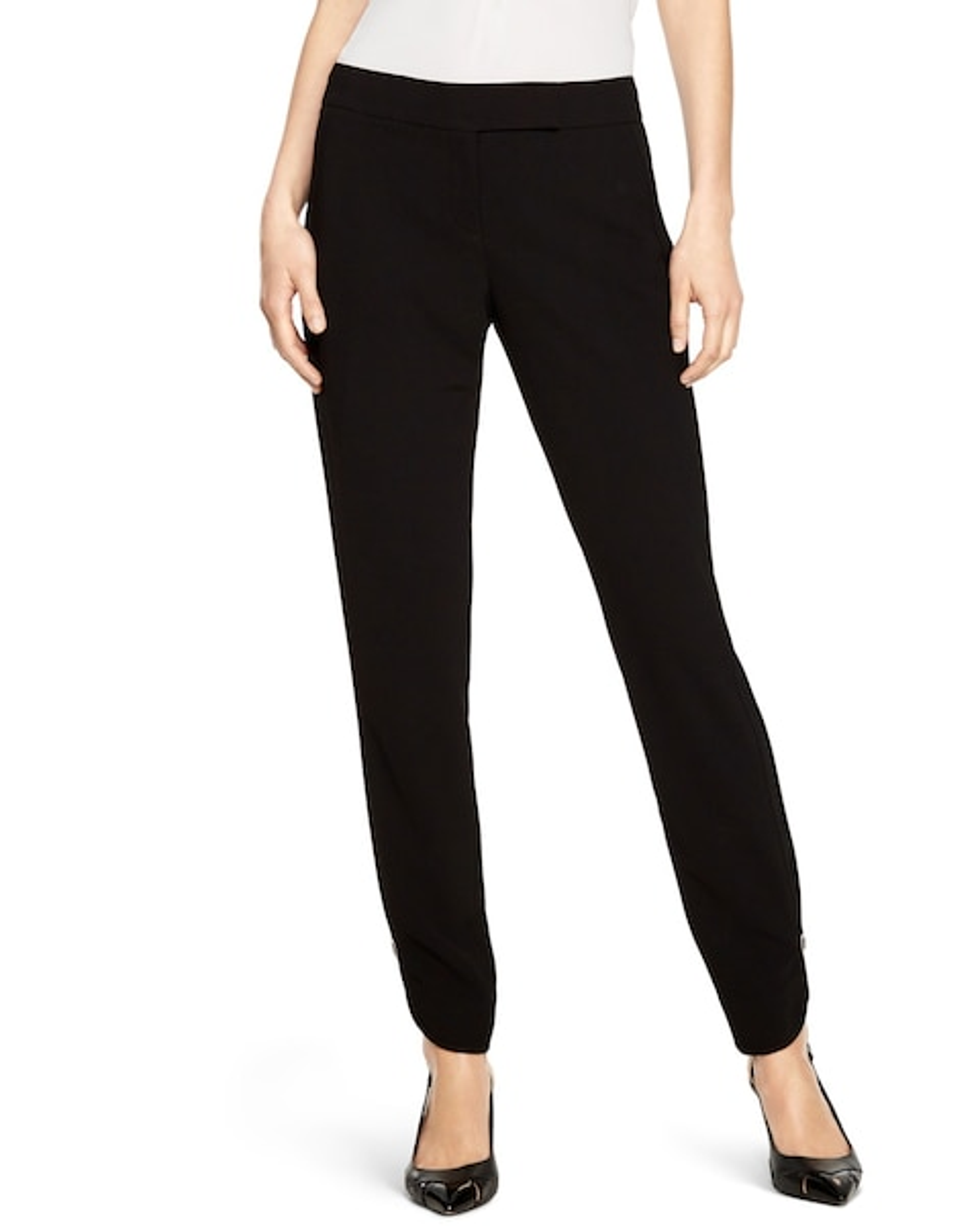 Soft Drape Tapered Black Ankle Pants - WHBM