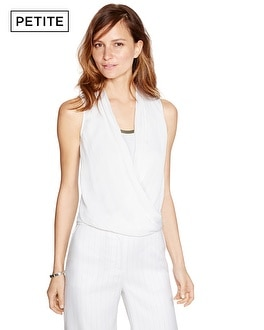 Petite Sleeveless Surplice White Blouson Top