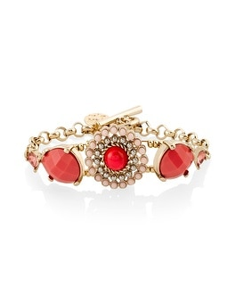 Coral Medallion Toggle Bracelet