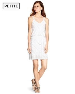 Petite Sleeveless Studded Blouson White Short Dress
