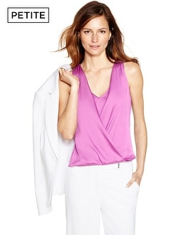 Petite Sleeveless Surplice Shell Top
