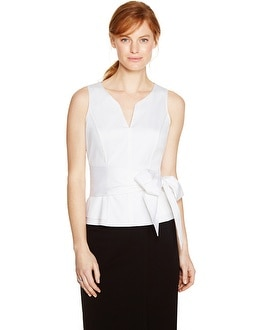 Sleeveless White Peplum Bodice Top
