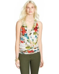 Sleeveless Tropical Floral Surplice Shell Top
