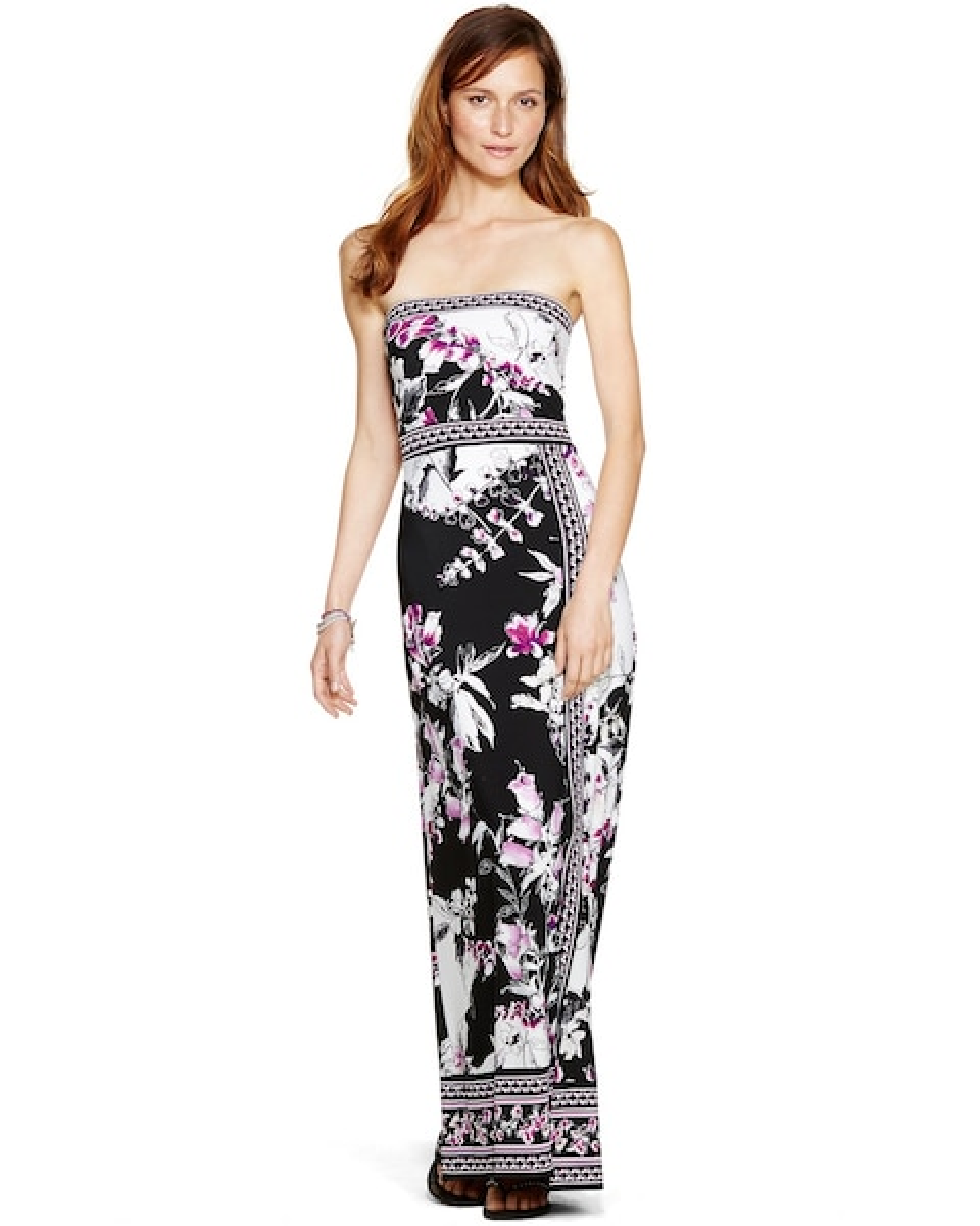 Strapless Floral Print Maxi Dress White House Black Market