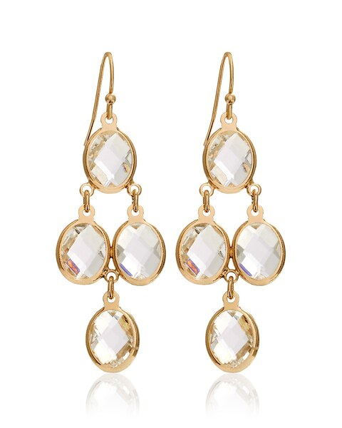 Golden Crystal Chandelier Earrings