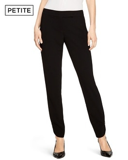 Petite Soft Drape Tapered Black Ankle Pants