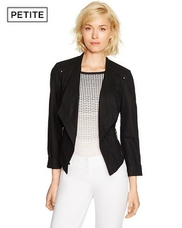 Petite Long Sleeve Linen Black Motorcycle Jacket