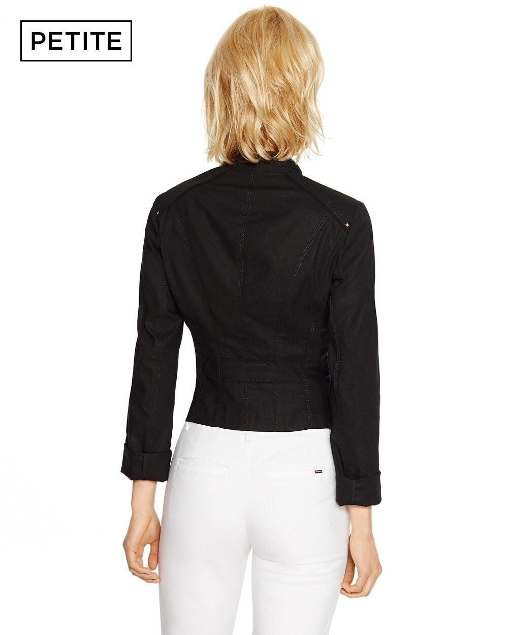 Petite Long Sleeve Linen Black Motorcycle Jacket - White . a06edbb90