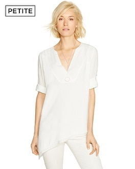 Petite Long Sleeve Asymmetrical Challis Tunic