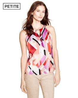 Petite Sleeveless Cubist Geometric Print Top
