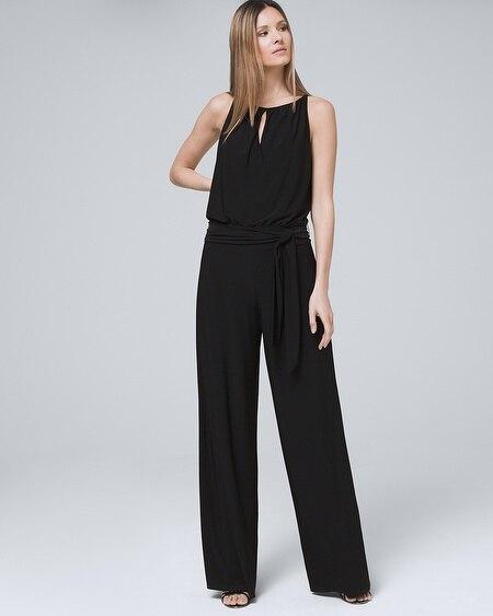 dc2182ec7e3b Convertible Black Strapless Velvet Bodice Split-Leg Jumpsuit - White ...