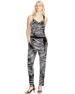 Sleeveless Shaded Palm Print Jumpsuit
