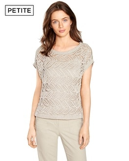 Petite Drop Shoulder Open Stitch Pullover