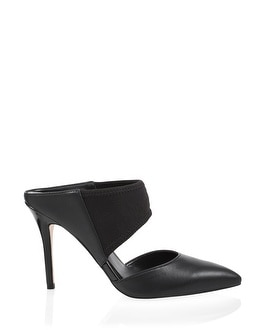 Leather Pointed-Toe Stretch Mules