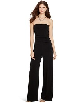 Strapless Wide Leg Black Jumpsuit