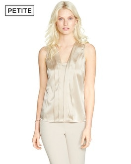 Petite Sleeveless Pleated Layering Shell