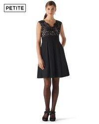 Petite Lace Bodice Faille Dress