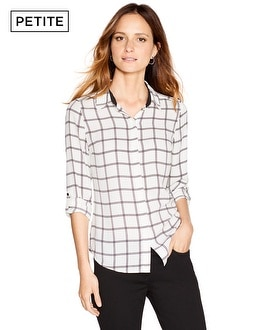 Petite Long Sleeve Windowpane Shirt