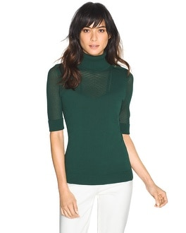 Crepe Pointelle Turtleneck