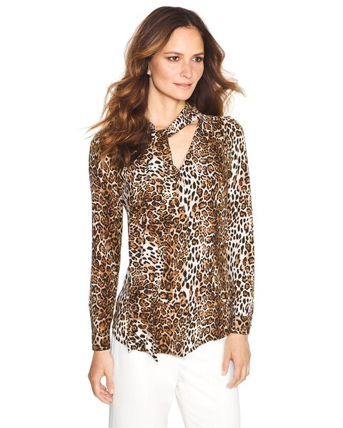 4f0573943b4aa Leopard Print Tie-Front Blouse - White House Black Market