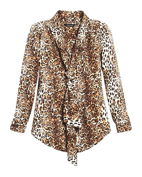 77fae4bbf24b88 Return to thumbnail image selection Leopard Print Tie-Front Blouse