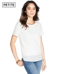Petite Short Sleeve Textured Boxy Top