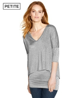 Petite V-Neck Double Layer Tunic