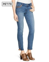 Petite Saint Honore Faux Leather Tipped Skimmer Jeans