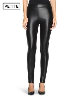 Petite Faux Leather Panel Skinny Pants
