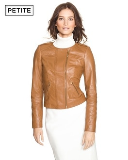Petite Cropped Leather Jacket