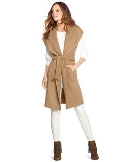 Sleeveless Shawl Collar Coat - WHBM