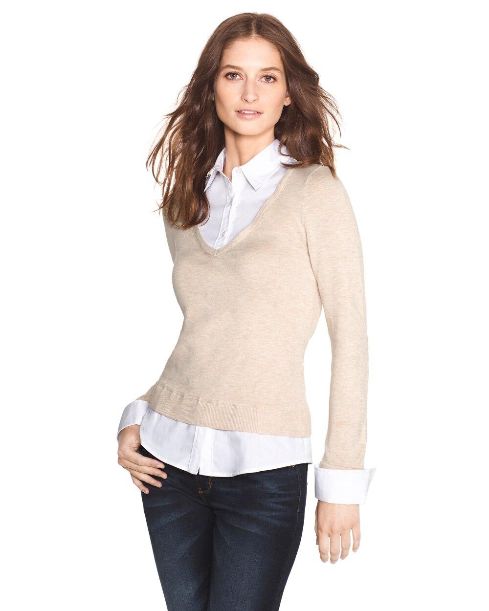 1411e632123063 Two-Fer Shirt Pullover - White House Black Market
