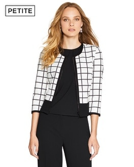 Petite Windowpane Ponte Jacket