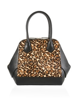 Leopard Haircalf Satchel