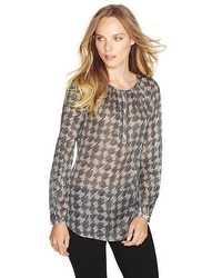 Silk Houndstooth Pattern Blouse