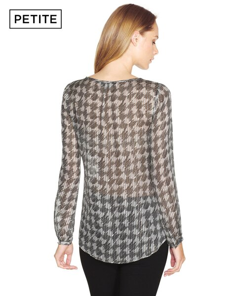 01d9bfe2075 Return to thumbnail image selection Petite Silk Houndstooth Pattern Blouse