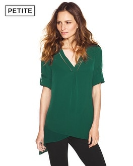 Petite Notch Neck Asymmetrical Tunic