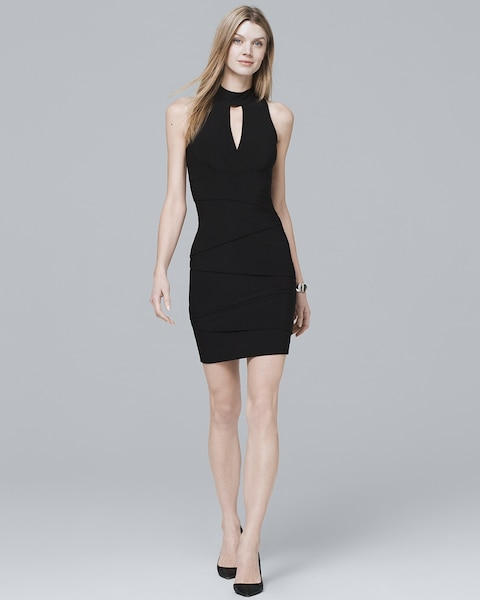 e7e06a7cb4c Return to thumbnail image selection Mock Neck Black Instantly Slimming Dress  video preview image