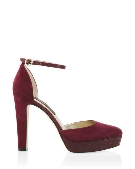 Suede Ankle Strap Platform Heels