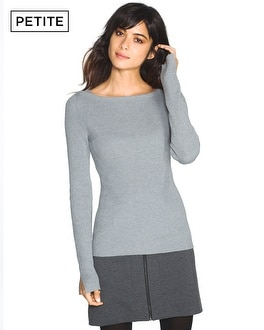 Petite Long Sleeve Ribbed Pullover