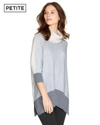 Petite Turtleneck Colorblock Pullover