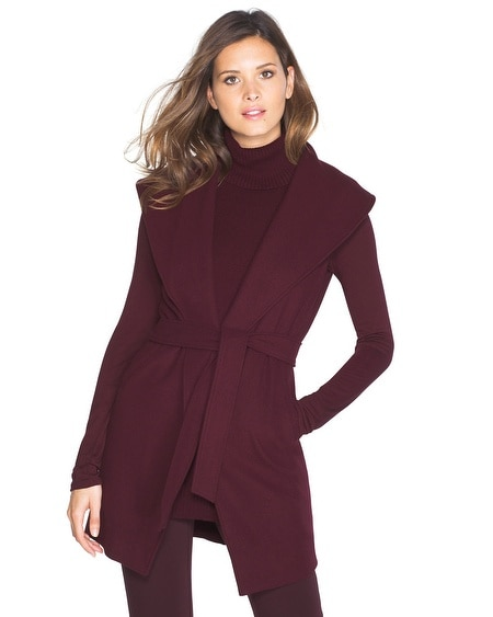 Sleeveless Shawl Collar Wrap Coat